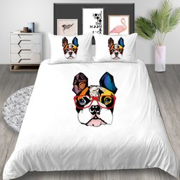 white dog cartoons NZ - Dog Bedding Set Cartoon Simple Creative Artistic Duvet Cover Colorful Queen King Twin Full Single Double Bed Cover with Pillowcase