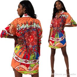 womens african dresses Australia - EU Women Designer Dresses African Ethnic Style Printing Lapel Neck Long Sleeve Blouse Dresses Womens Dress