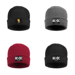 orange blue vintage hat Australia - Fashion ACDC rock band lightning music Winter Ski Beanie Skull Hats Styles Est. 1973 member retro Vintage old Rock gesture skull War of