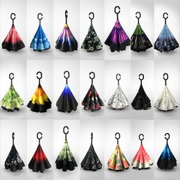 $enCountryForm.capitalKeyWord Australia - Inverted Umbrellas With C Handle Double Layer Inside Out Windproof Beach Reverse Folding Sunny Rainy Umbrella 36 Style AN1901