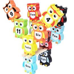 $enCountryForm.capitalKeyWord NZ - China Supplier Hot Funny Popular Kids Wooden Building Block Set Wooden Large Colorful Digital Owls Stack Children Puzzle Building Blocks Toy