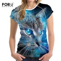 Cat Lady T Shirt Australia - Forudesigns Plus Size S-xxl Women Summer T-shirt 3d Printted Tshirt For Ladies Fashion Female Tee Tops Cartoon Cat Pattern Y19042101