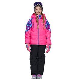 Jacket Waterproof Child UK - 2019 New Winter Clothing Children Ski Sports Snow Suit Waterproof Jacket + Pants Overalls Teens Girl Outdoor Wear Set Ski Outfit