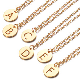 $enCountryForm.capitalKeyWord Australia - Gold Plated Letter Necklaces Men Women 26 Initial A-Z Alphabets Stainless Steel Pendants Necklaces for Girls Lady Fashion Link Chain Jewelry
