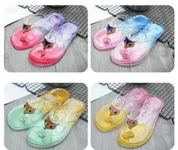 $enCountryForm.capitalKeyWord Australia - Cool slipper female summer fashion outside wearing Korean version lovely outdoor flat bottom with plastic transparent crystal flip-flops