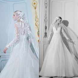 3fb42d6800c Elie Saab 2019 Boho Beach Wedding Dresses V Neck Long Sleeve Lace Wedding  Dress Bridal Gowns Sweep Train robe de mariee