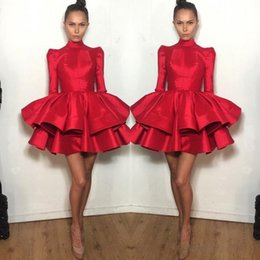 Long maternity baLL gowns online shopping - 2019 Fashion Short Graduation Dresses Red With Long Sleeve Tiered Ruffled Michael Costello Mini Prom Dress Girls Homecoming Cocktail Dress