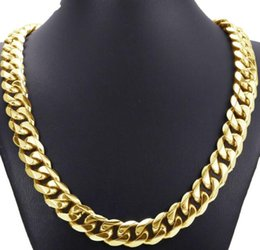 curb link chain 14k Australia - 14K Gold Fill 316L Stainless Steel Heavy Link Gold Curb Cuban Chain Men Boy Necklace