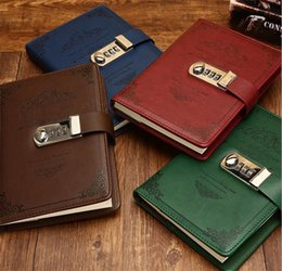 leather bound books 2019 - PU Stationery Notebook Retro Password Book With Lock Diary Thread Installed Notepad Business Books School Office Supplie