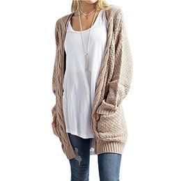 $enCountryForm.capitalKeyWord UK - hot Solid Color Women Knitted Cardigan Coat Autumn Winter 2018 Casual V-Neck Long Sleeve Crochet Knit Sweater Coat Female Tops