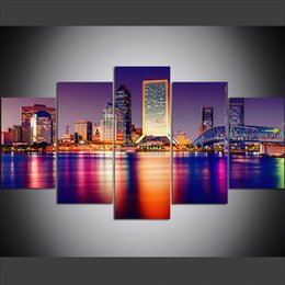Discount cities paintings - 5 Piece Large Size Canvas Wall Art Pictures Creative Night, Lights, City, American Skyscrapers Art Print Oil Painting fo