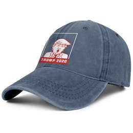 vintage man hat UK - For men and women vintage Denim cap washing Adjustable Trump 2020 face red designer ball caps fashion Dad hats Outdoor