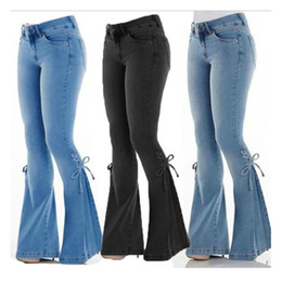 Jeans Mulher Summer Fashion Mid-rise Belt Denim Trousers jeans stretch Feminina Alargamento Pants Robe Femme