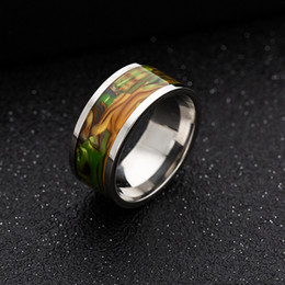 Mexican Abalone Shells Australia - Stainless Steel Shell Ring Abalone Shell Rings Band Ring Engagement Wedding Rings for Men Women Fashion Jewelry will and Sandy 080465