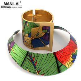 Painting Wood Jewelry Australia - Manilai Trendy Country Style Multicolor Painting Torques Cuff Bracelet Bangles Necklace Sets Women Indian Statement Jewelry Y19051302