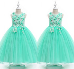 $enCountryForm.capitalKeyWord UK - Mint Green Ball Gown Flower Girls Dresses 2019 Lace 3D Flowers Beaded Cap Sleeve Jewel Girls Prom Dress Pageant Toddler First Communion Gown