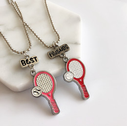 "tennis racket jewelry UK - 2PCS Lot ""Best Friends"" Kids Necklaces Enamel Tennis Racket Pendant Necklace For Children Friendship BFF Necklace Jewelry"