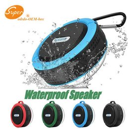 potable speakers Australia - C6 Potable Wireless Bluetooth Speaker Waterproof Shower Speaker Drive Bult-in Stereo Music Player Snap Hook Suction Cup With Package