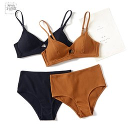 organic cotton lingerie NZ - Womens Set Cotton Bra Brief Waist Wire Free Paded Push Up Seamless Lingerie Bra Set Sexy Hight Set Lenceria Mujer