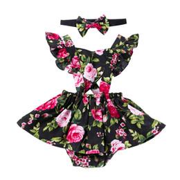 $enCountryForm.capitalKeyWord UK - Floral Printed Dress Rompers+headwear Girl Baby Two Piece Set Sling Ruffles Jumpsuit Dress Kids Toddler Sets Summer Hot New