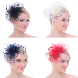 Wholesale Vintage Women Dot Mesh Feather Fascinator Wedding Bridal Party Clip Hat Hair Accessory for Cocktail Party