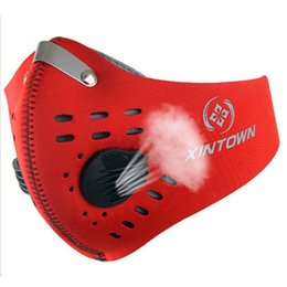 Red Half Helmet Australia - Outdoor Cycling Face Mask With Filter Half Helmet Face Carbon Dust Anti-pollution Anti Haze Smog Mouth-Muffle PM2.5 Macka