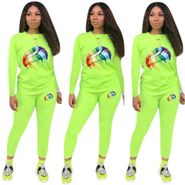 $enCountryForm.capitalKeyWord Australia - Candy Color Women Sweater Outfits Tracksuits rainbow Big Lips Print Designer Hoodie pullover + Pants Trouser Casual Suit Sportswear C8804