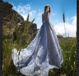 $enCountryForm.capitalKeyWord Australia - Evening dress Ball Gown Jewel Long Sleeve Tulle Crystal Beaded Light Sky Blue Classic Customizable in any size Modern 1 Customizable