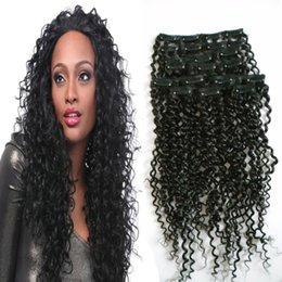 """afro kinky human hair blonde 2019 - 100g 10-26"""" Afro Kinky Curly Hair Clip In Human Hair Extensions 4B 4C 100% Human Natural Clip Ins Brazilian Remy Ha"""