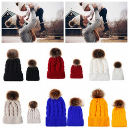 Wholesale tall furs online – design Parent child Pom Pom Beanie Colors Winter Warm Imitation Raccoon Fur Knitted Caps Outdoor Beanie OOA7094