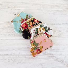 Porte-monnaie florale Vintage Vintage Vintage pour Femme Print Fleur Snap Fermeture petite portefeuille d'été Bijoux Accessoires en Solde