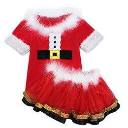 Cute girls shorts skirts online shopping - Christmas Baby Girl Dress Short Sleeve Tops TUTU Skirt Kids Two piece Suit Outfits Santa Claus Xmas INS Fur Collar Christmas Costume A101101