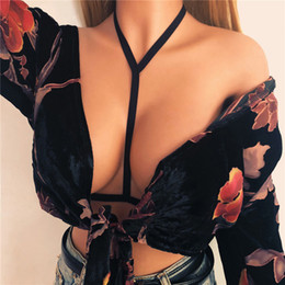 Bras garters online shopping - Lanshifei Sex Female Garter Cupless Bra Sexo Lady Bandage Halter Sexy Bondage Lingerie Belt Open Cup Bra Bustier Crop Top Belt