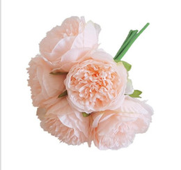 China Five Royal Peony Hand-tied European Wedding Hand-tied Flower Home Decoration Peony Hand-held Flower W1153 cheap royal blue flowers wholesale suppliers
