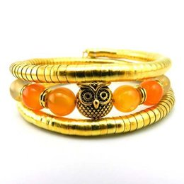 Cute stone braCelets online shopping - Natural Stone Bracelet Bangle Beads Stretch Bracelet Beads Cute owl colorful natural stones Jewelry Owl Bracelet Bangle