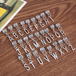 Fit Coin Pendant Australia - harms silver plated New 26pcs mixed metal charms silver plated letter alphabet big hole bead pendants fits European bracelets jewelry han...