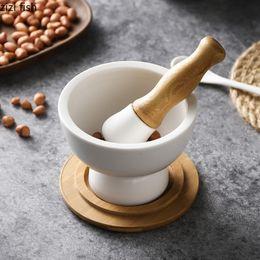 Wholesale polish food online – design High Quality Chinese Ceramic Seasoning Grinding Set White Hand held Seasoning Polishing Kitchen Mortar Tool Set