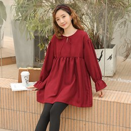 e0e3ad414359f 8091# 2019 Spring Fashion Maternity Blouses Large Size Loose Shirts Clothes  for Pregnant Women Long Sleeve Sweet Pregnancy Tops