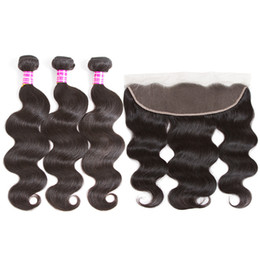 Venta al por mayor de 8A Paquetes de cabello humano de onda corporal brasileña con cierre 3 paquetes con encaje frontal 13x4 Cierre frontal 100% sin procesar Extensiones de cabello virgen