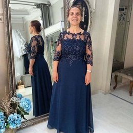 Mother Bride Dresses Navy White Lace Australia - Navy Blue Chiffon Mother of the Bride Dress Plus Size Three Quarter Sleeve A-Line Groom Mother Gowns Wedding Party Dresses