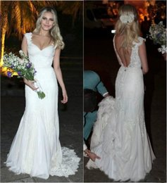 sexy country shirts Australia - 2019 Sexy Full Lace Wedding Dresses Cap Sleeve Sexy Backless A Line V Neck Bridal Gowns Covered Button Country Style Wedding Gowns