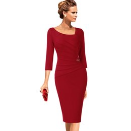 wholesale Womens Elegant Asymmetrical Neck Ruched Slim Work Office Business  Casual Party Fitted Bodycon Pencil Sheath Dress 1607 369af6175