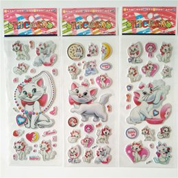 Discount school scrapbook stickers - 100pcs Cartoon pets Marie Cat Pattern Bubble Stickers Classic Toys 3D Scrapbook Sticker Kids School Reward Christmas Gif