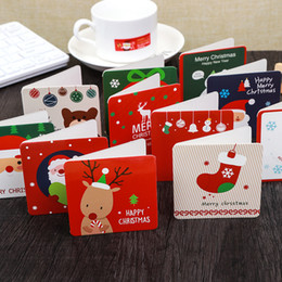 wholesale cartoon postcards NZ - 144 Pcs Christmas Card Cartoon Snowman Santa Claus Thanksgiving Paper Gift Card Xmas Greeting Cards Party Postcard With Envelope