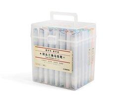 Modelos de explosão quente 48 cores de duas pontas triângulo cor marcador estudante caneta pintura arte pintados à mão caneta oleosa conjunto aquarela venda por atacado