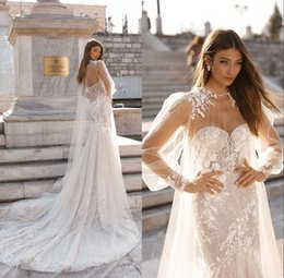 Discount dress wedding marie - Gorgeous Sequins Mermaid Wedding Dresses 2019 with Cape Sweetheart Neck Lace Appliques Sweep Train Bridal Gown Beach rob