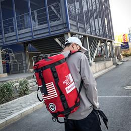 Wholesale hip hop art online – oversize LISM Fashion Men Women Backpack Large Capaciy Travel Shoulder Bag Male Sport Gym Fitness Cylinder Bags Hip Hop Backpack