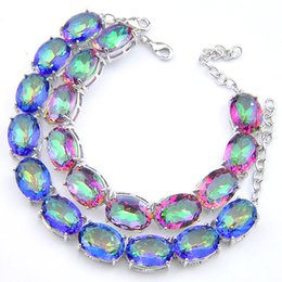 $enCountryForm.capitalKeyWord NZ - New Fashion 2018 Brand Elegant Gemstone Mystic Topaz Cubic Zirconia 925 Silver charm Bracelet Bohemian Charm Bracelet Bangle