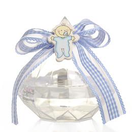 Shape Boxes Australia - Wedding Party Home Clear Diamond Shape Transparent Plastic Candy Box Favor Decor Baby Shower Pink Blue Ribbon