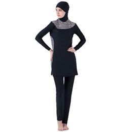 Swimsuits Hijab Australia - Muslim Swimwear Mayo Women Modest Patchwork Full Cover Long Sleeve Swimsuit Islamic Hijab Islam Leopard Print A Modest Swimsuit